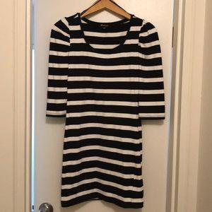 black and cream stripe 3/4 bandeau dress